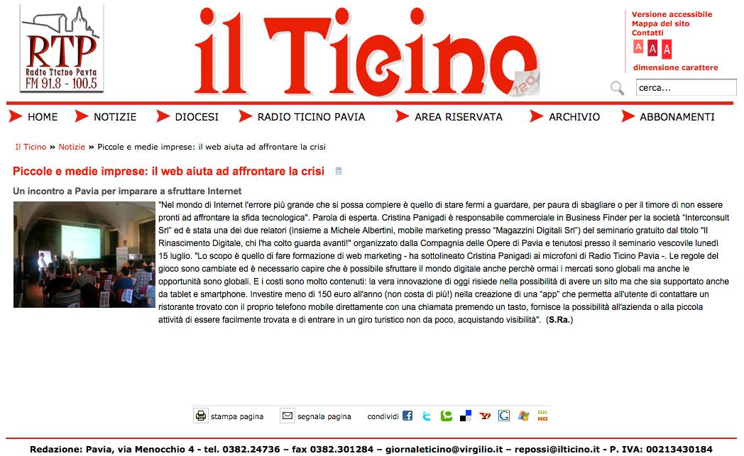 articolo su BusinessFinder Il Ticino